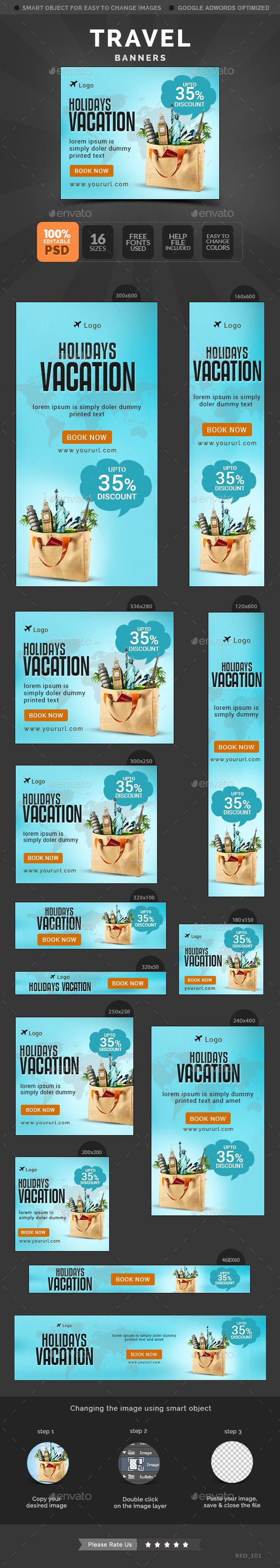 16 awesome quality banner template PSD files ready for your Services, products, campaigns.Each PSD files are layered and fully organized. You can use this banners for google adwords & Adroll too. ( All google adwords, Adroll banner sizes included)
