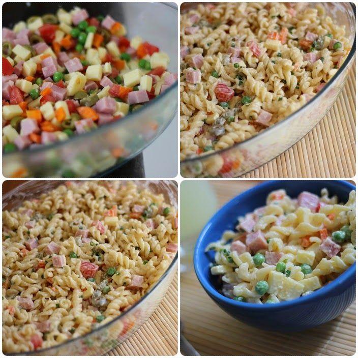 salada de macarrão, molho feito com 1 copo de iogurte, 2 colheres de maionese, 1 colher de mostarda, sal e pimenta a gosto.