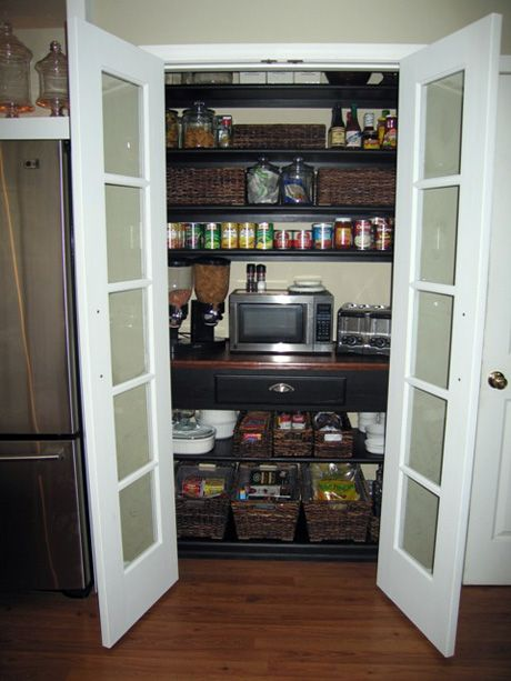 Shallow pantry - French doors with frosted glass. <---- replace slats in bifold doors with foisted glass