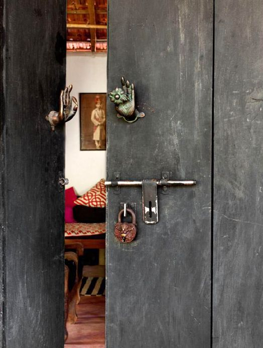 Jade Jagger's home in Goa, India - these doors & handles are amazing!