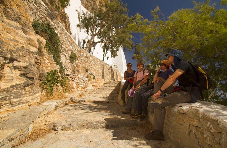 Resting at the monastery of Hozoviotissa, in Amorgos