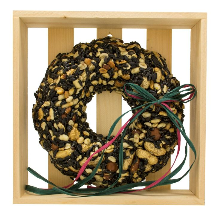 """WRTHN-C Christmas Nut Wreath in Crate. Approximately 10"""" x 10"""" x 2-1/2"""". Mixed seed and nuts. Approximately 610g. Embedded hanger included"""
