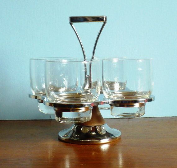 Mid Century Modern Glassware Barware in Chrome by embeehat on Etsy, $40.00