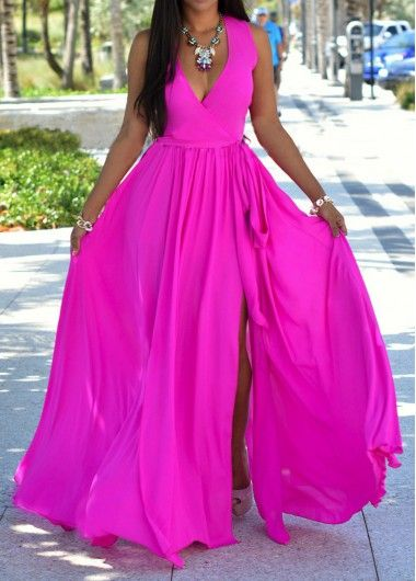 Fuchsia Sleeveless Wrap Maxi Dress On Sale With Free Shipping!