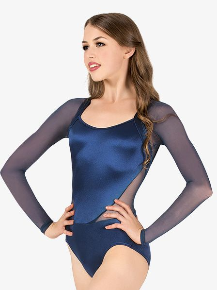 0c0db0174077 Womens Performance Satin Back Cutout Long Sleeve Leotard | solo2018 ...