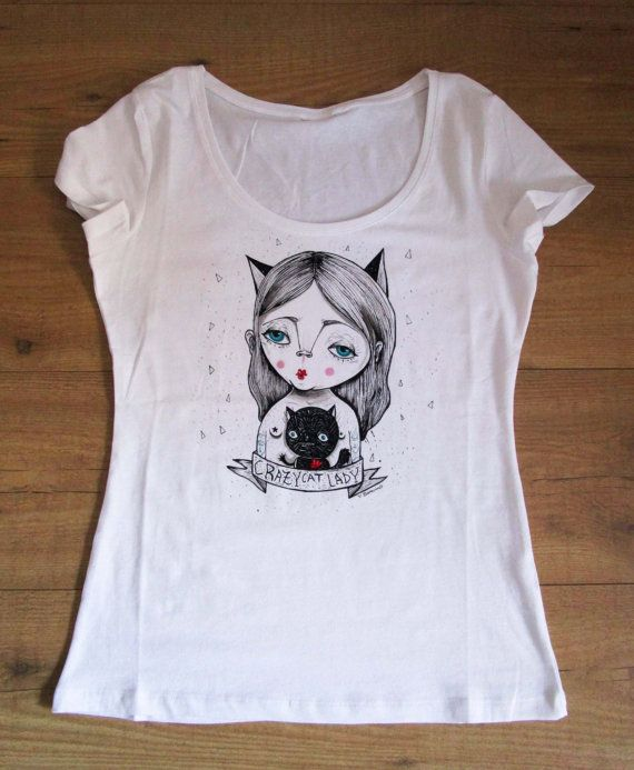 Crazy Cat Lady Hand painted t-shirt free di ValentinaZummo su Etsy