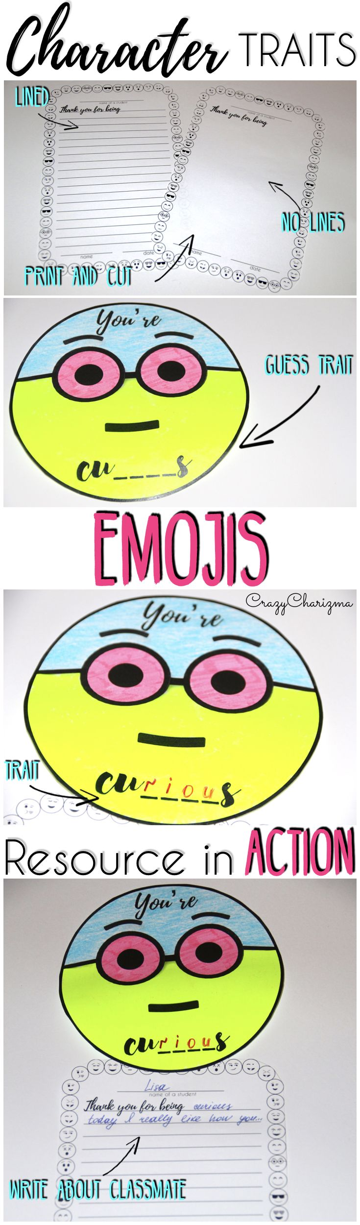 Use this Emojis packet to practice Character Traits (only positive) in Elementary school. The packet can also be used to build kindness (random acts of kindness) or build rapport in the classroom. Perfect for ✔ Thanksgiving; ✔ End of the year / term; ✔ New Year or any time you feel like.| CrazyCharizma