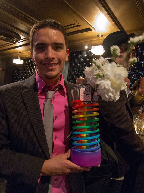 Chris Torres, Nyan Cat creator with his Webby Award    Photos: The 16th Annual Webby Awards