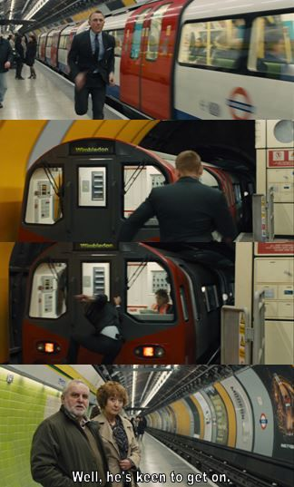 James Bond (Daniel Craig) really wants to get on the Tube in Skyfall.