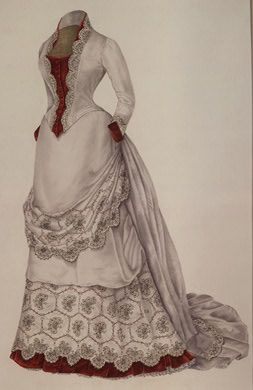"""""""This """"visiting dress,"""" dated 1883, is made of wool. It is constructed of multiple pieces. The waist has eight fitted parts, six in back and two in front. The overskirt is draped from the bustle at the back where it falls in a train. The vest, cuffs, and ruffle around the bottom of the skirt are of red velvet."""""""