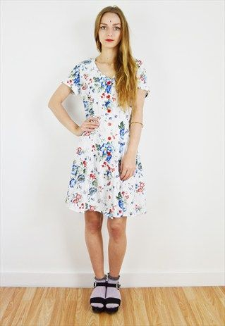 90's+White+Floral+Mini+Dress+