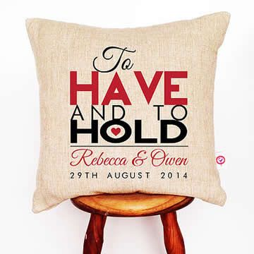 Personalised Linen Cushion Cover for Grown Ups - To Have And To Hold