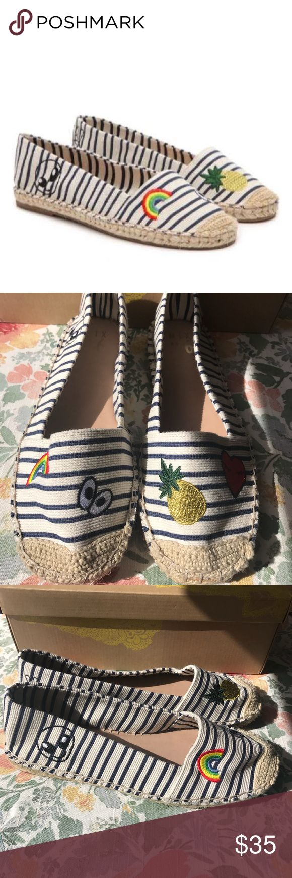 ❤️NWB❤️ Mix No6 Lemma Navy Espadrilles Size 6 ❤️NWB Mix No6 Lemma Navy Espadrilles Size 6❤️ 🙌🏽 Material Upper 🙌🏽 Embroidered with Smiley Faces and Emojis  🙌🏽 Round Toe 🙌🏽 Cushioned Insole 🙌🏽 Espadrille Midsole 🙌🏽 Run big - More of a Size 7-7 1/2 🤩 Super Fun and Playful 🤩 Mix No. 6 Shoes Espadrilles
