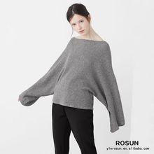 Señoras gris de la manga del batwing de punto suéter de gran tamaño suéter del hombro