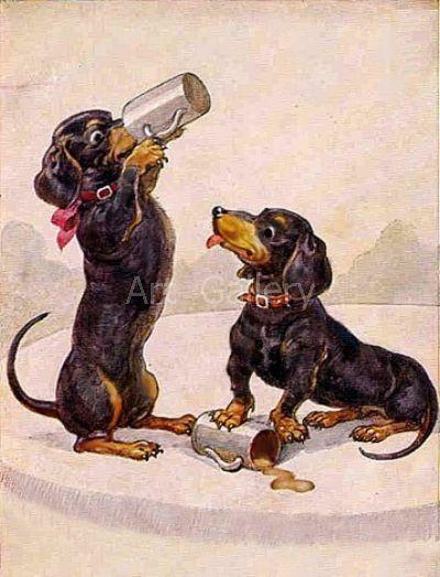 Two Dachshund Drinking BEER Vintage Art by VintageDachshundArt, $4.00