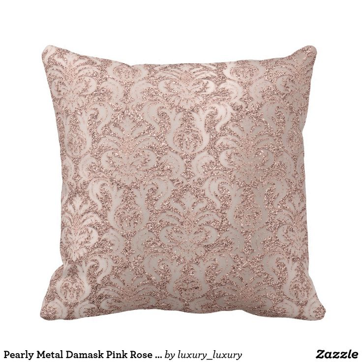 Pearly Metal Damask Pink Rose Gold Glitter Luxury Cushion