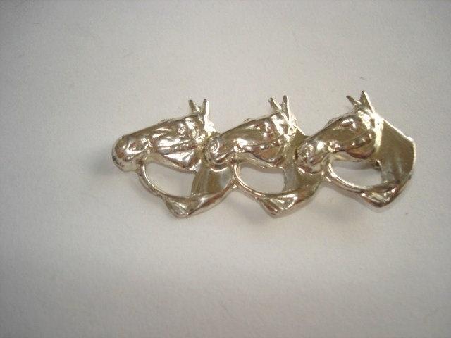 Vintage Jewelry 3 Horse Head Sterling Brooch by sanibelsands