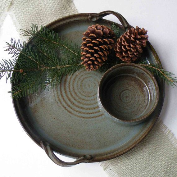 Stoneware Platter and Crock Set of 2 by JanFairhurstPottery