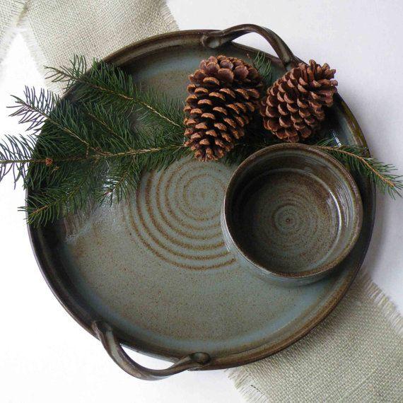Stoneware Platter and Crock Set of 2 by JanFairhurstPottery