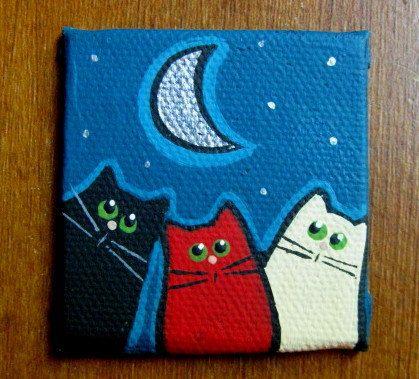 2 x 2 inch Mini Canvas Panel original painting  Color Cat by bcgem