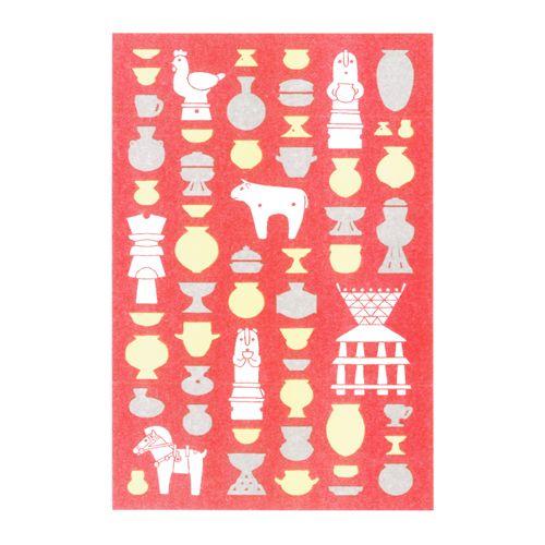 ポストカード「はにわのうたげ・あか」 - レトロ印刷JAM オンラインお店
