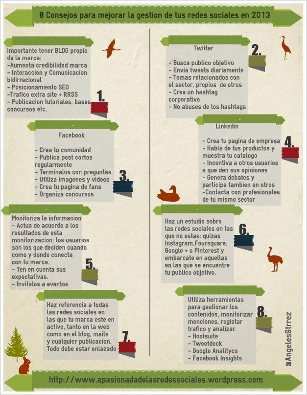 8 consejos para mejorar la gestión de tus Redes Sociales #infografia