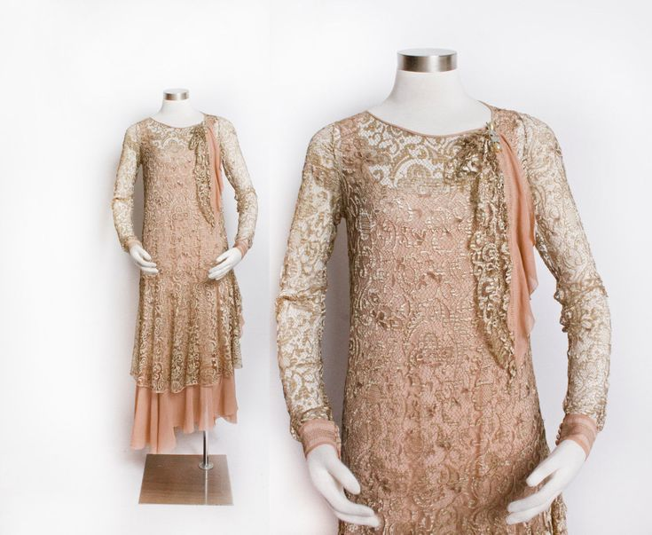Vintage 1920s Dress - Champagne Lace Silk Chiffon Flapper Gown 20s - Small | eBay