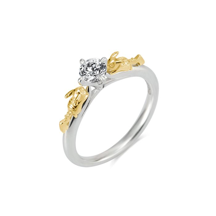 Pikachu solitaire ring silver × K18 yellow gold - Pokemon jewelry