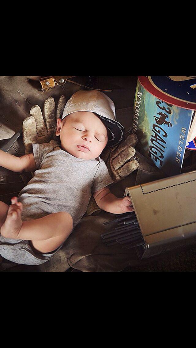 A welders son, so adorable!