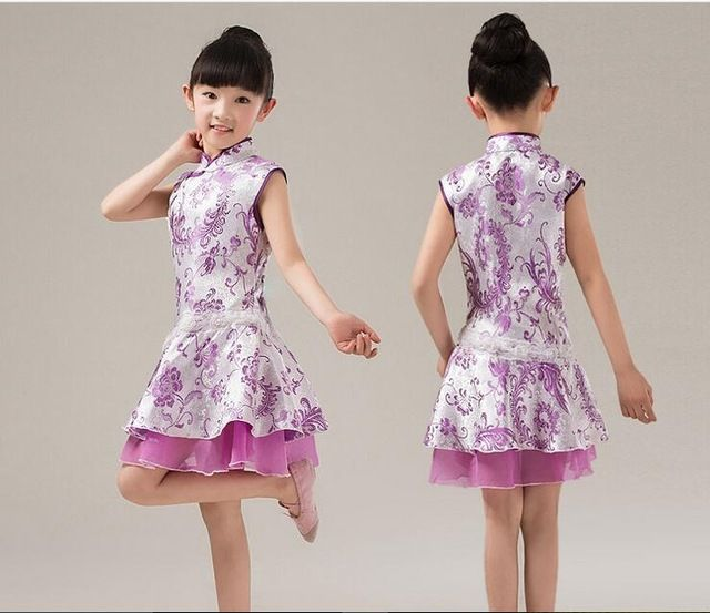 Fairy Baby Girls Outfit Kids China Style Chinese Qipao Floral Cheongsam Summer Mini Dress