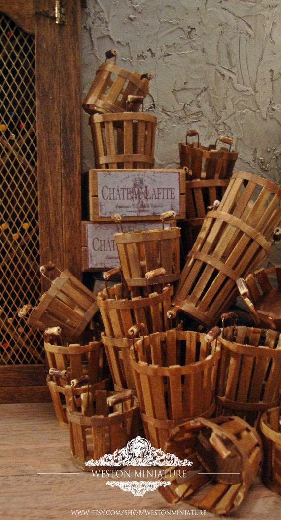Aged Vineyard Grape Basket 1/12 Scale Miniature Dollhouse Accessory