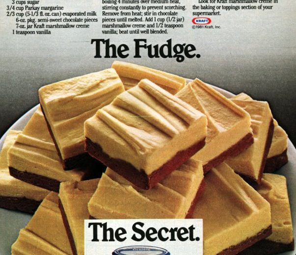 Ribbon fantasy fudge recipe 3 cups sugar 3/4 cup butter or margarine (1-1/2 sticks) 1 pkg. (6 oz.) semi-sweet chocolate pieces 2/3 cup evaporated milk (5 1/3 oz.) 1 jar (7 oz.) Kraft marshmallow creme 1/2 cup peanut butter (crunchy or creamy style) 1 tsp. vanilla Combine 1-1/2 cups sugar, 6 tablespoons butter and 1/3 …