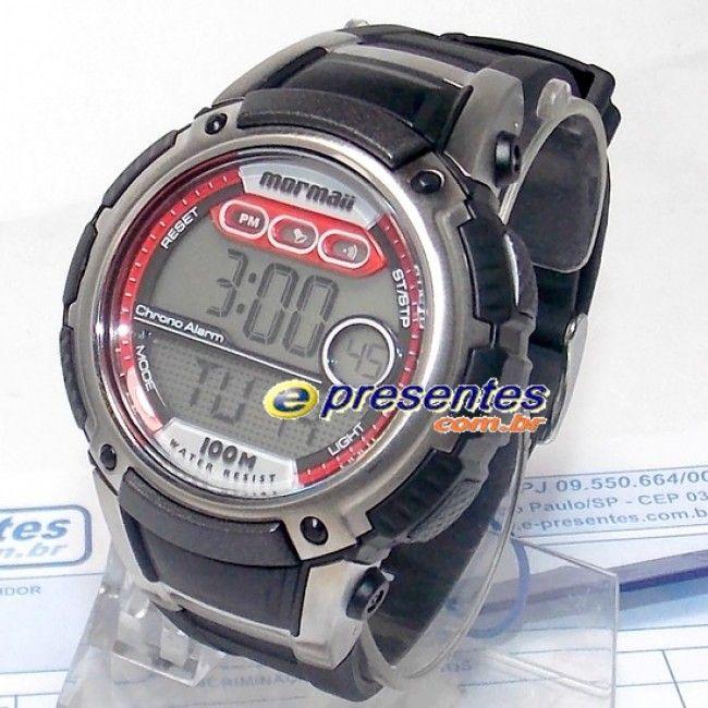 YP7367/8R Relógio de Pulso MORMAII Masculino Digital Poliuretano, Grande, Prova d'água até 100 metros