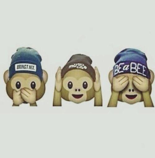 Imagen de emoji, monkey, and wallpaper