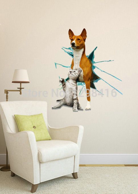 2014 bello caldo animale cane e gatto foro wall sticker 3d sticker art immagine rimovibile casa decalcomanie per camera da letto soggiorno camera(China (Mainland))