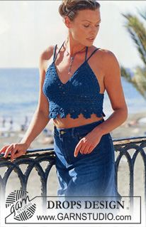 DROPS Crocheted top. ~ DROPS Design could be crocheted as the top part to a dress...just sew some fabric to the bottom for a skirt.