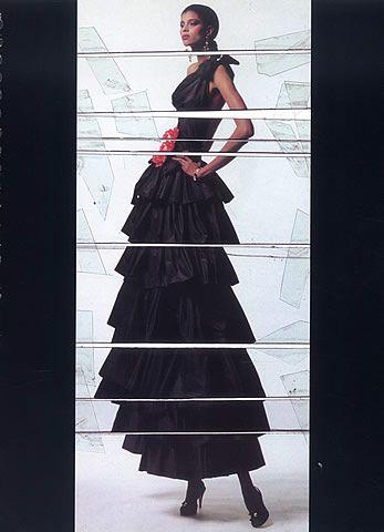 Yves Saint Laurent haute couture, Spring 1982. Photo: Jean Paul Goude. Model: Mounia.