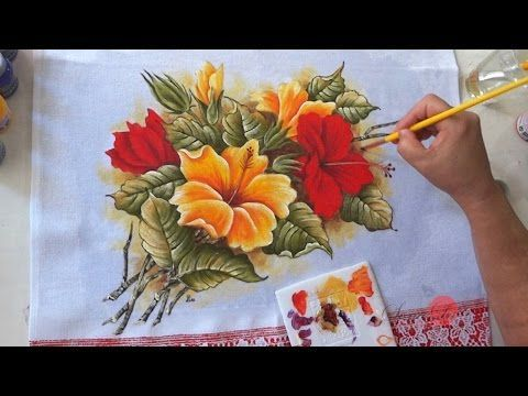 Vida com Arte   Pano de Copa com Hibiscos por Fátima Hespanholeto - 31 de Julho de 2014 - YouTube