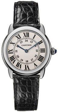 Cartier Women's Ronde Solo Black Leather Watch W6700155