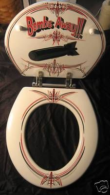 """Bombs away"" kustom toilet seat by fat daddy customs"