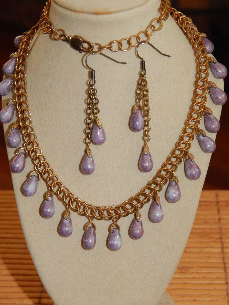 Hand-Made Brass Chain Maille with Lilac Picasso Czech Glass Drops Necklace Set