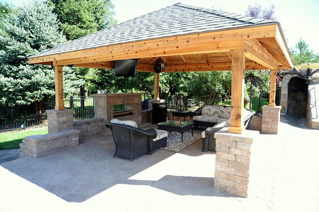 Covered patio with fireplace and tv. | Outdoor kitchen ...