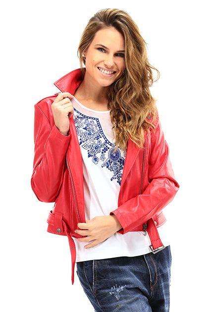 Twin Set Jeans - Giacche - Abbigliamento - Giacca in ecopelle con tasche sul davanti con zip. Fibbia sul fondo regolabile e chiusura con cerniera. Foderata. - BACCA - € 158.00