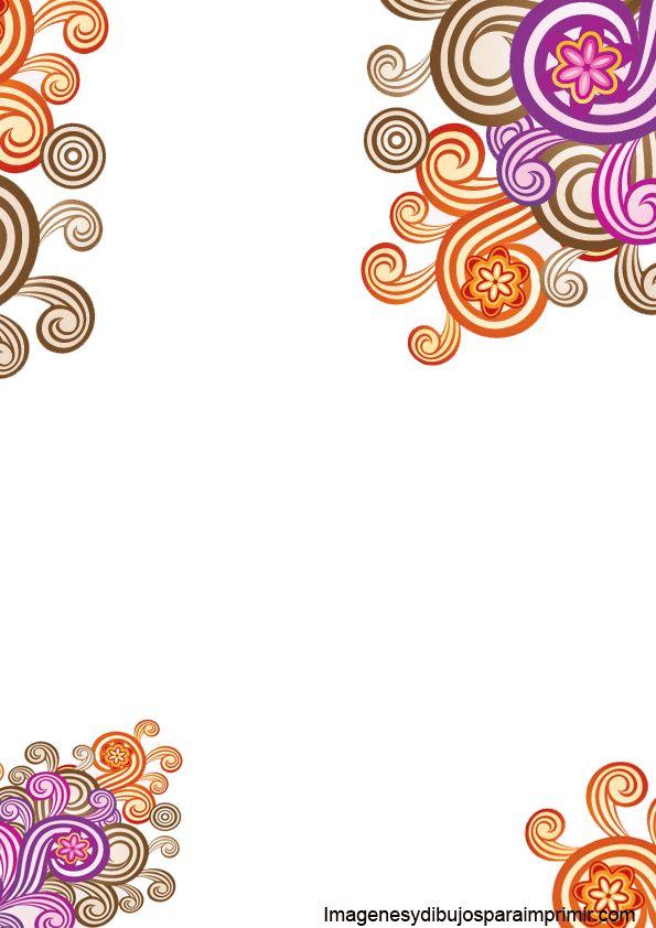 Borde con flores de colores para imprimir