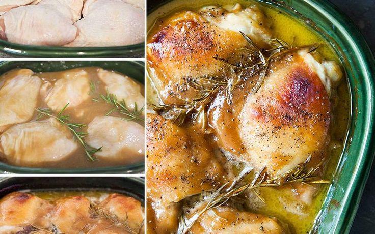 """Dit is één van die """"luie dagen-kan niet makkelijker-ik hoef er niet over na te denken-en het wordt toch een overheerlijke"""" schotel. Het enige dat je hoeft te doen is Dijon mosterd, honing en olijfolie te mixen. Giet het over de kip, zet het in de oven en bak tot het klaar is. De kip zorgt voor z´n eigen jus met de honing en mosterd en de huid bovenop wordt bruin en krokant. Als je geen kip met huid wilt eten, bereid het dan wel met de huid omdat de huid de kip beschermt van uitdrogen. Voor 4…"""