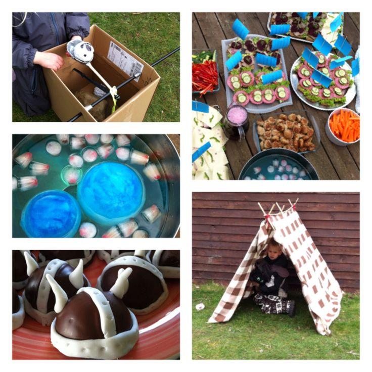 Får-katapult, ruffel-både med sejl, ishavs-saftevand, vikingehjelm-rumkugle og telt. Fantastisk hyggelig fødselsdag for 7 årig