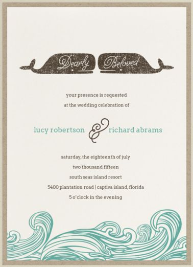 Whale of a Tale Wedding Invitation // This vintage nautical invitation suite accented with typographic whales and crashing waves will have your friends and family charmed from the moment they lay eyes on it. Perfect for a wedding by water, whether your feet are in the sand or you are floating just above, it will be a tale to be told for years to come. // waves, wedding invitation, beach invitation, ocean invitation, teal and brown wedding invitations