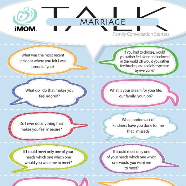 Even in the best marriages, conversations can grow stale. Freshen things up with iMOM's Marriage Talk family conversation starters.