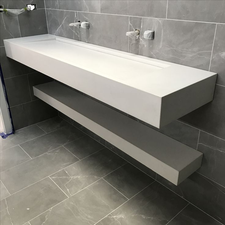 Website With Photo Gallery White concrete floating vanity top and shelf with integrated sink by Mitchell Bink Concrete Design