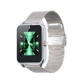 Vosmep Exclusif Intelligente Montre Smart Watch comme Téléphone  Support Facebook Twitter avec Bluetooth 4.0 Bracelet Intelligent Sportive avec Camera et Ecran Tactile pour Apple/IOSSamsung/AndroidHTC XiaoMi HuaweiSoutiens SMI/TF Smartphones(Argent Metal Strap)SM020